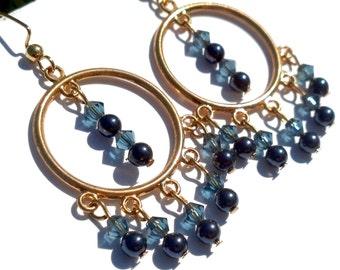 Clearance Sale - Blue and Gold Hoop Earrings, Swarovski, Swarovski Pearl