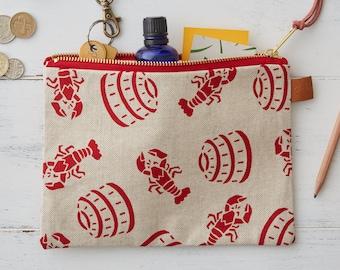 Screen Printed Linen Zipped Bag - Lobster Pot - Seaside - Lobsters - Beach Make Up Bag / Pencil Case / Purse