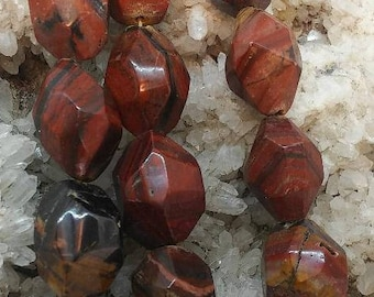 Tiger Iron Faceted Nugget bead, 14x20m,16 inches, 21 Beads per strand.