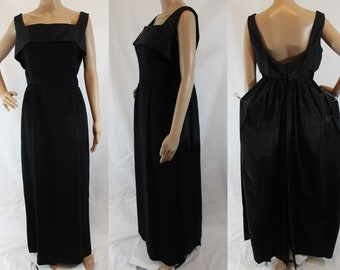 50s vintage designer Emma Domb black silk fragile evening gown with train capelet size medium