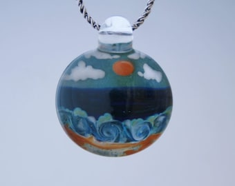 Boro Glass Pendant - Hand Blown Lampwork Beach Scene Bead