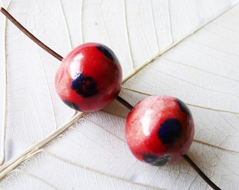 Red and Blue ceramic beads, cobalt duo unique