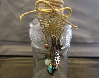 Clear Glass Decorative Bottle with Butterfly dangle charm / Spell Bottle