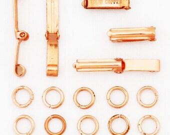 Fine Fold Over Copper Clasp Repair Kit 4x14 mm Solid Copper Clasp Kits Bulk 5-Pack