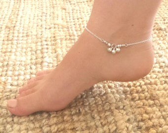 Tinkle bell anklet - Silver plated chain anklet with three tiny bell charms