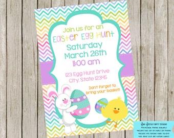 Easter egg hunt invitation - chevron