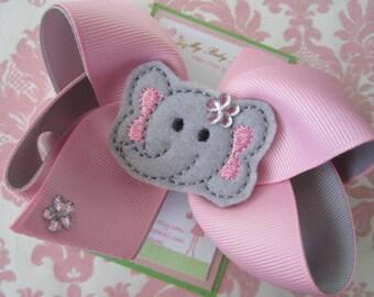 Girl hair clips - elephant hair clip - girl hair bows - barrettes for girls