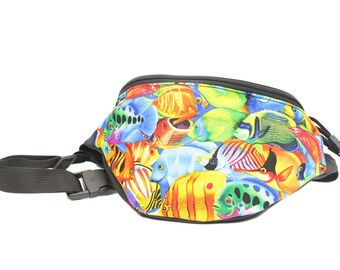 Fanny pack Colorful Ocean Fish fabric - Cute  - Hip Bag for travel, sport, concerts, hiking
