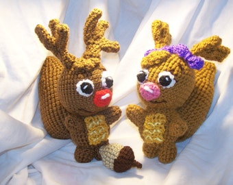 Crochet Sammy and Eve squirrels with acorn Can be made to rattle inspired