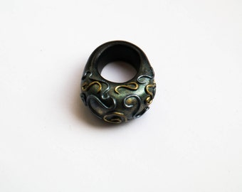 Polymer clay statement ring, Statement jewelry, Fashion ring jewelry, Oversized patina ring