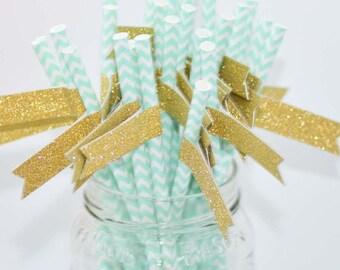 Aqua & White Chevron Paper Straws with Gold Glitter Flags - 24 count