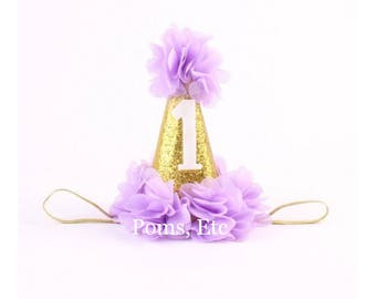 Gold 1st Birthday Hat with number / Pink/ Lavendar/ blue / first birthday hat
