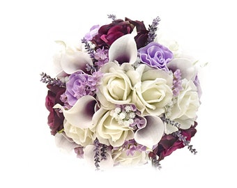 Stemple's Gatherings-Artificial White,Lavender and Plum Roses,Callas, Lavender, Wax Flower & Baby's Breath-In a vase or as a wedding bouquet
