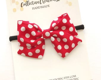 Minnie Mouse Bow - Disneyland Bow - Minnie Mouse Baby Headband - Disney Bow - Red Polka Dot Minnie Mouse Bow - Disney Baby - Red Minnie Bow