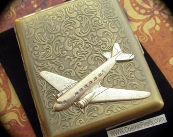 Big Airplane Cigarette Case Vintage Inspired Big Metal Case Silver Plane Gold Brass Cigarette Case