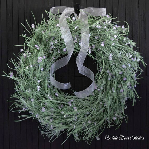 Spring Grass and Lavender Blossom Front Door Wreath - 24 inch Diameter