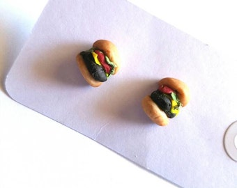 Cheeseburger Earrings  Mini Cheeseburger Fast Food Earrings  Hamburger Earrings  Polymer Clay Earrings  Handmade Earrings Tiny Kawaii