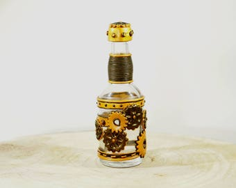 Messege in a bottle, steampunk bottle green and gold
