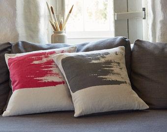 Bright pink cushion pillow // Handmade screen printed cushion throw pillow in magenta on natural linen fabric