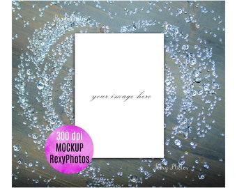 Real Chrystal Mock up,Love,Heart,5x7 invitation card mockup,High Quality Jpeg,Png File