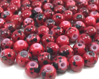 100 Red, Black and Gold Splatter Painted Round Beads