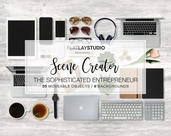 New! MOCKUP SCENE CREATOR / 36 Items / The Sophisticated Entrepreneur / Flat Lay Minimalist Styled Stock Photo