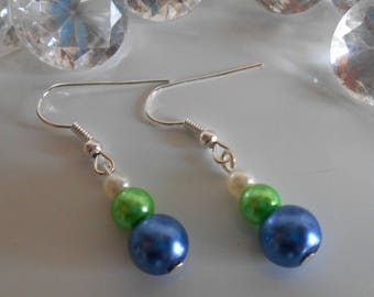 Wedding trend earrings blue green and white