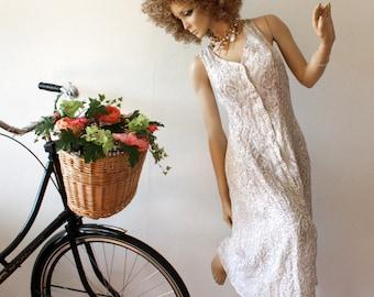 VINTAGE 70s DRESS WHITE with animal pattern Sleeveless Romantic Boho Simple Spaghetti straps Size m