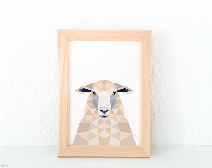 Sheep print, New Zealand sheep, Sheep illustration, Sheep face, Animal portrait art, New Zealand art, Geometric sheep, Kiwiana, Sheep art