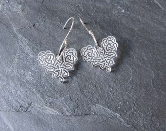 Heart Celtic Design   perspex earrings with handmade sterling silver earwires