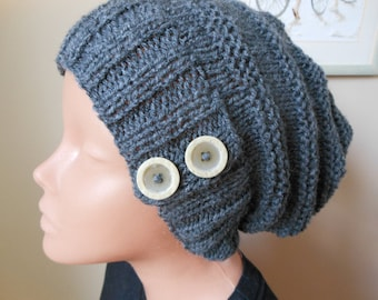 Hand Knit Slouchy Beanie Hat Acrylic Grey Color