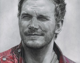 Drawing Print of Chris Pratt as Star Lord/Peter Quill in Guardians of the Galaxy (Finale)
