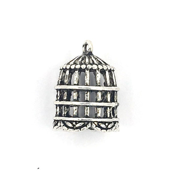 """Great charm - silver colored """"cage 3D"""""""
