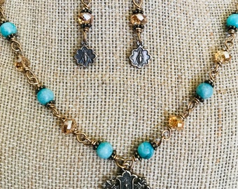Marian Fleur Turquoise Necklace & Earring Set,  miraculous medal earrings, amazonite, Wire Wrapped