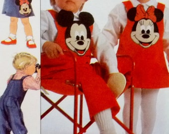 Vintage Boy Girl Overalls, Shirt, Jumper, Purse Mickey Minnie Mouse Transfers Simplicity 8263 Disney Sewing Pattern Child Size 3 UNCUT 1980s
