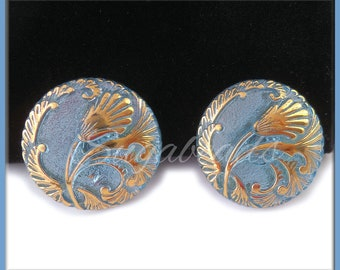1 Pretty Blue Czech Glass Button 27mm, Czech Glass Blue and Gold Button, Czech Glass Tulip Button, Gold Tulip Glass Button, CZN90
