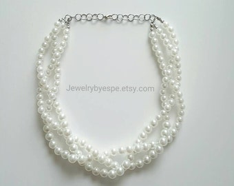 Braid Pearl Necklace Statement Necklace Chunky Bib Beaded Multi Strand Necklace Pearl Wedding Jewelry Bridesmaid Jewelry white pearls