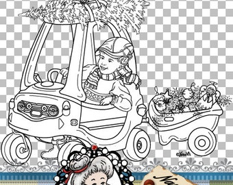 Christmas Cosy Trike Bike Boy Digital Stamp Digi Instant Download ID:NV-DS0074 By Nana Vic
