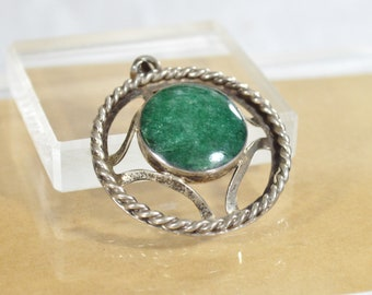 Large Vintage TAXCO MEXICO Sterling Silver J COMES Green Jasper Pendant