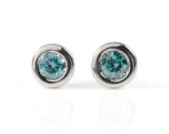 Fancy blue diamond earrings 1/2 carat-Gold Diamond Earrings 0.50 Carat-14K White Gold Earrings-Stud Earrings-Women Jewelry-Anniversary gift