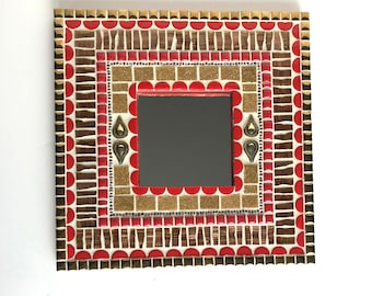 Mosaic Mirror, 10x10 decorative mirror, small wall mirror in red and gold