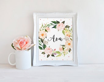 Floral Name Print, Ava Name, Nursery Ava Decor, Baby Girl Name Print, Custom Name, Kidds Room Decor, Baby Name Sign, Floral Custom Print