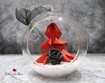 Glass Christmas tree red, black rose 1 ball
