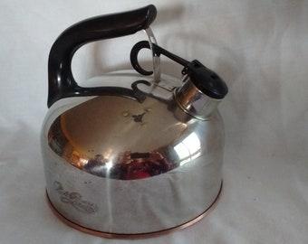 Vintage 1801 Paul Revere Ware Whistling Tea Kettle Pot Copper Bottom