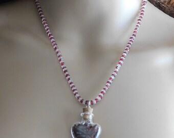 Glass Heart Bottle, Garnet and Moonstone Necklace, Earrings and Bracelet Set