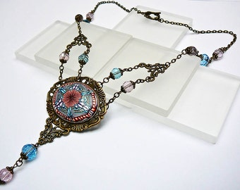 Retro mandala necklace in polymer clay and brass