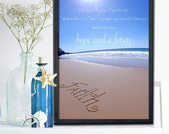 Faith Sign - Baptism Gift - Beach typography sign - Inspirational Sign - Encouragement Sign - Blue Ocean- Office Decor- Housewarming Gift