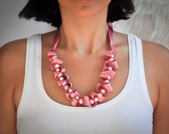 Rose pink Swarovski pearl necklace with silk ribbon- aNella Designs