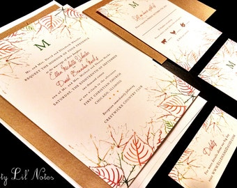 Fall Leaves Leaf Monogram Custom Wedding Invitation Fall Orange Green Red Gold Brown Tree Initial Outdoor Oak Maple Garden Nature Design Set