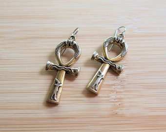 Egyptian Pharaoh Ankh Charm Earrings Old Gold and Silver Tone - New March